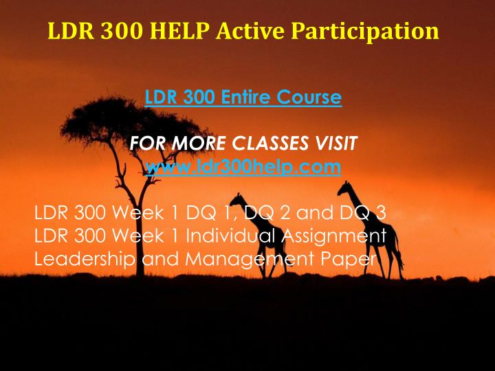 LDR 300 HELP Active Participation
