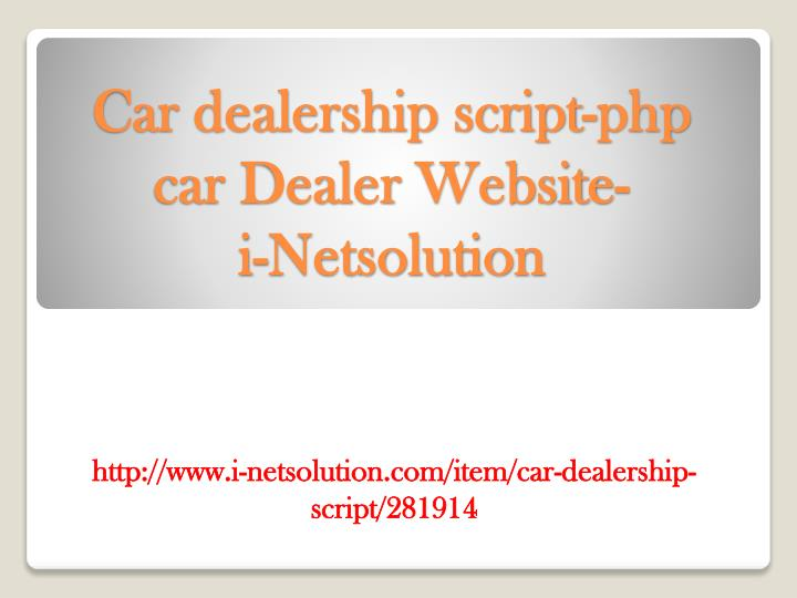 Car dealership script php car dealer website i netsolution