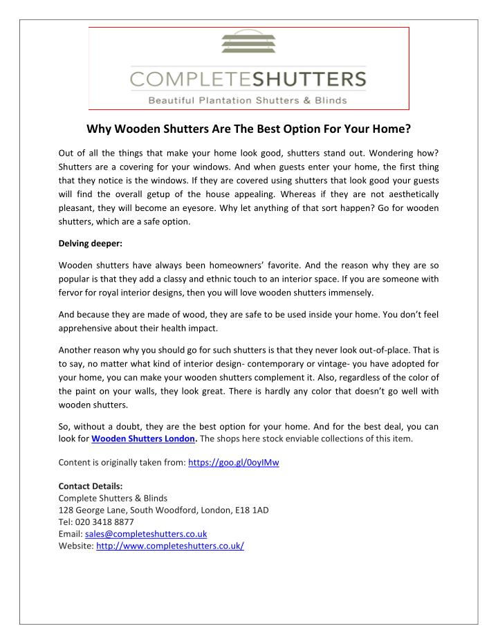 Why Wooden Shutters Are The Best Option For Your Home?