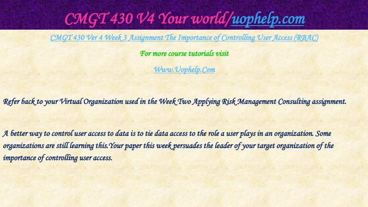 CMGT 430 V4 Your world/