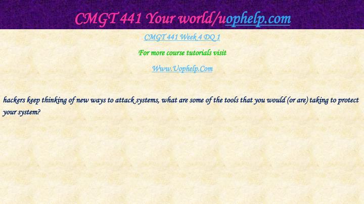 CMGT 441 Your world/u