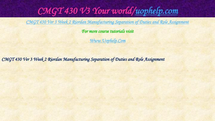 CMGT 430 V3 Your world/