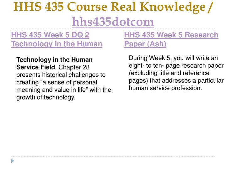 HHS 435 Course Real Knowledge /