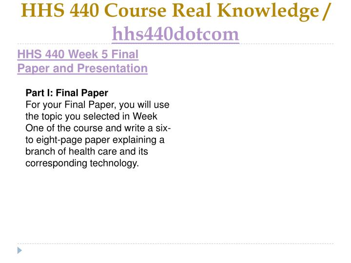 HHS 440 Course Real Knowledge /