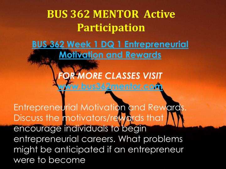 BUS 362 MENTOR