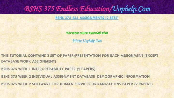 Bshs 375 endless education uophelp com1