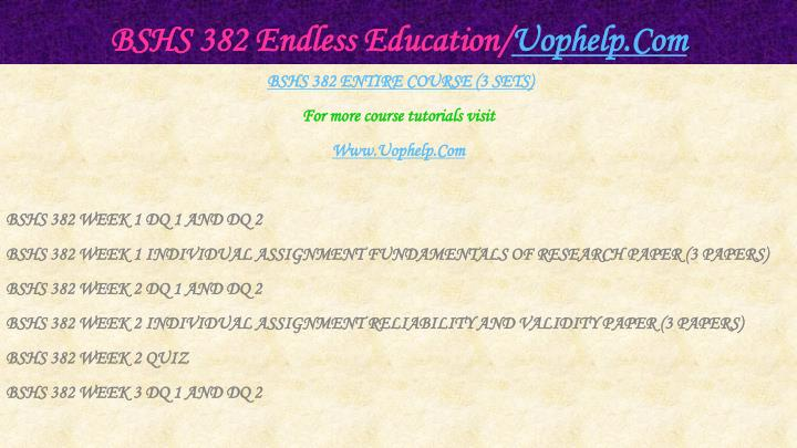 Bshs 382 endless education uophelp com1
