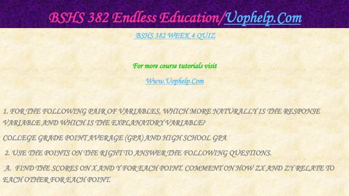BSHS 382 Endless Education/