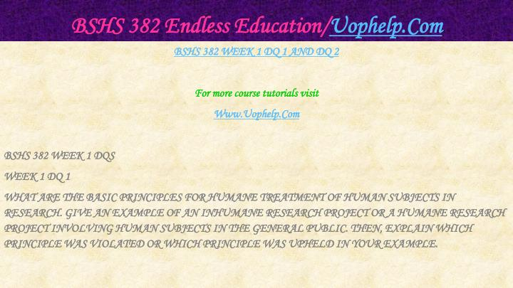 Bshs 382 endless education uophelp com2