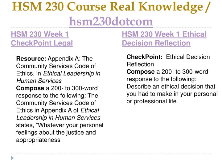 Hsm 230 course real knowledge hsm230dotcom2