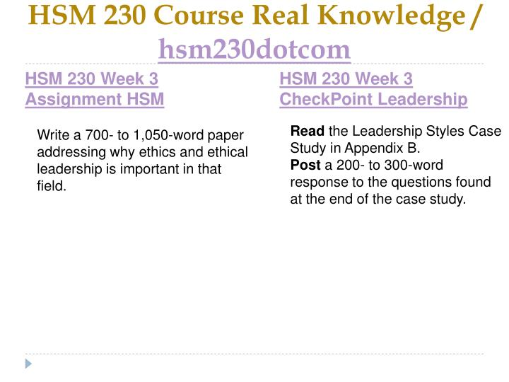 HSM 230 Course Real Knowledge /