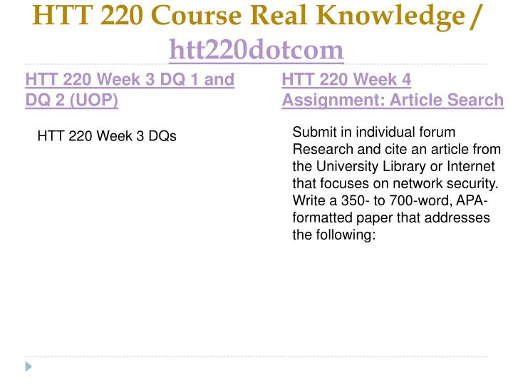 HTT 220 Course Real Knowledge /