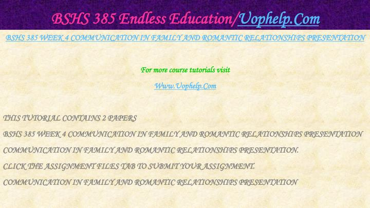 BSHS 385 Endless Education/