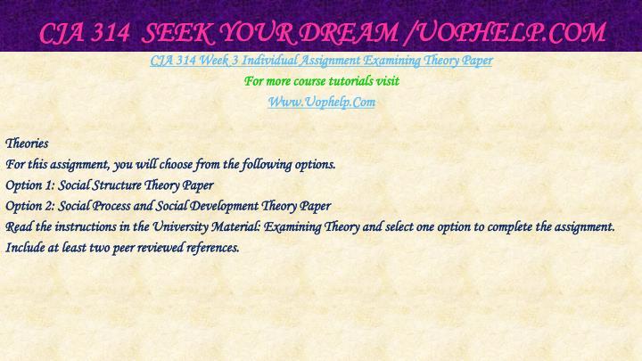 CJA 314  Seek Your Dream /