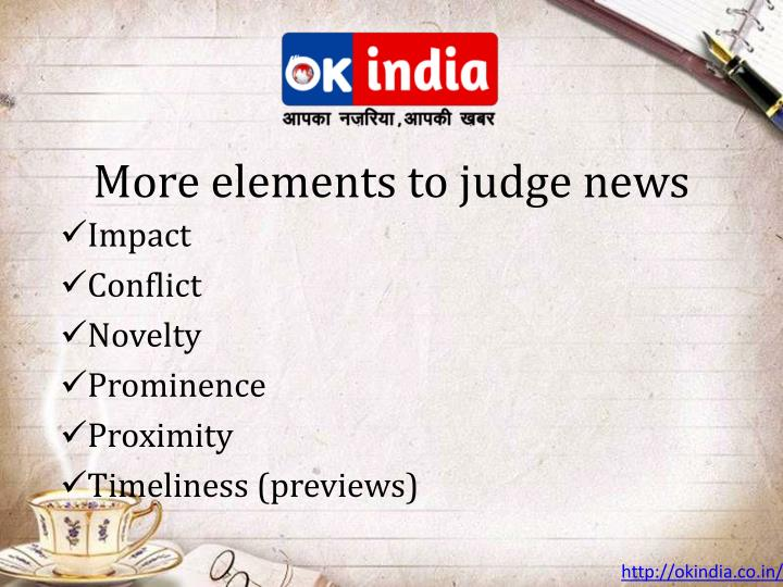 More elements to judge news