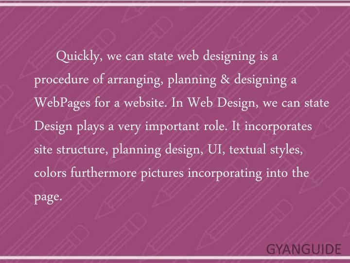 Quickly, we can state web designing is a