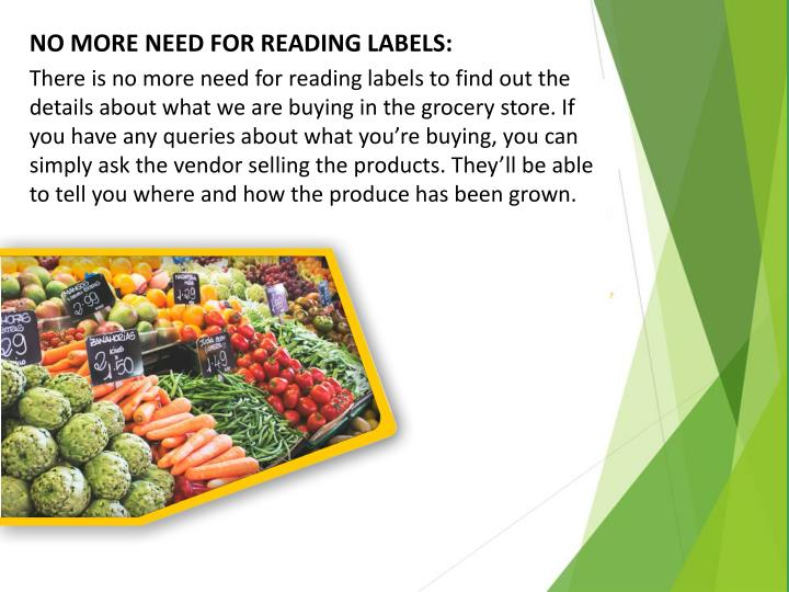 NO MORE NEED FOR READING LABELS: