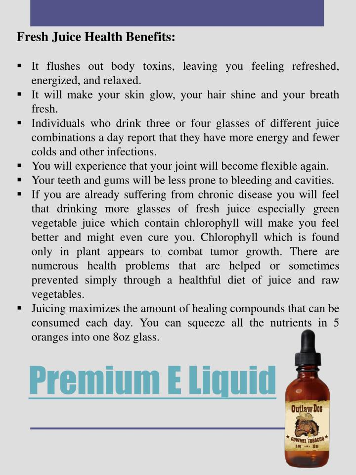 Fresh Juice Health Benefits: