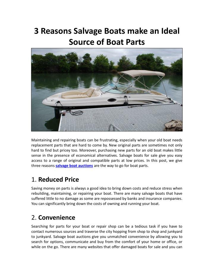 3 Reasons Salvage Boats make an Ideal