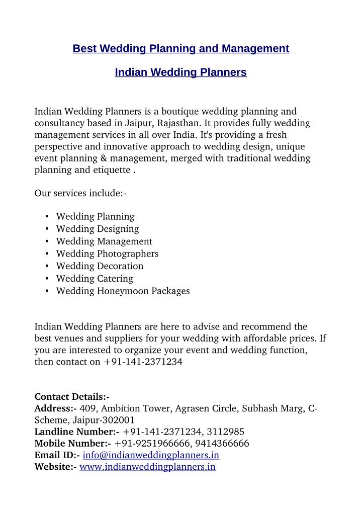 Best Wedding Planning and Management