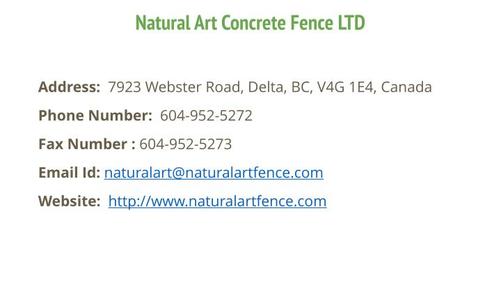 Natural Art Concrete Fence LTD