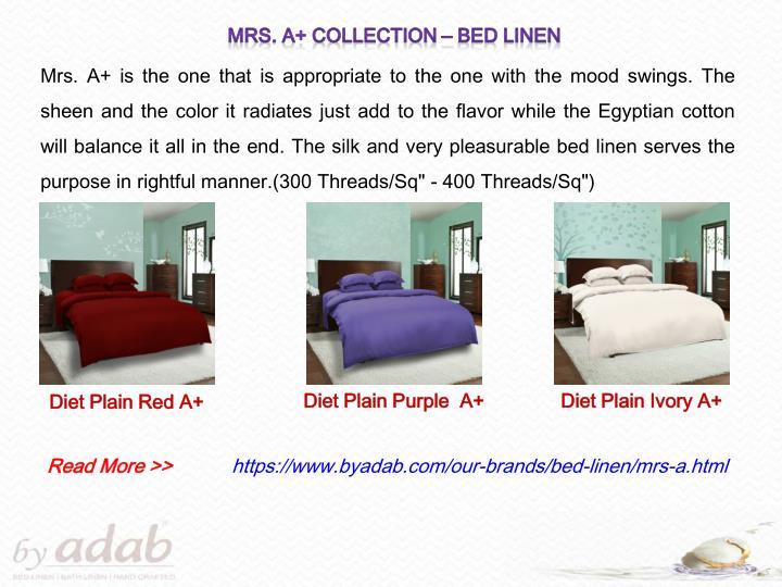 Mrs. A+ Collection – Bed Linen