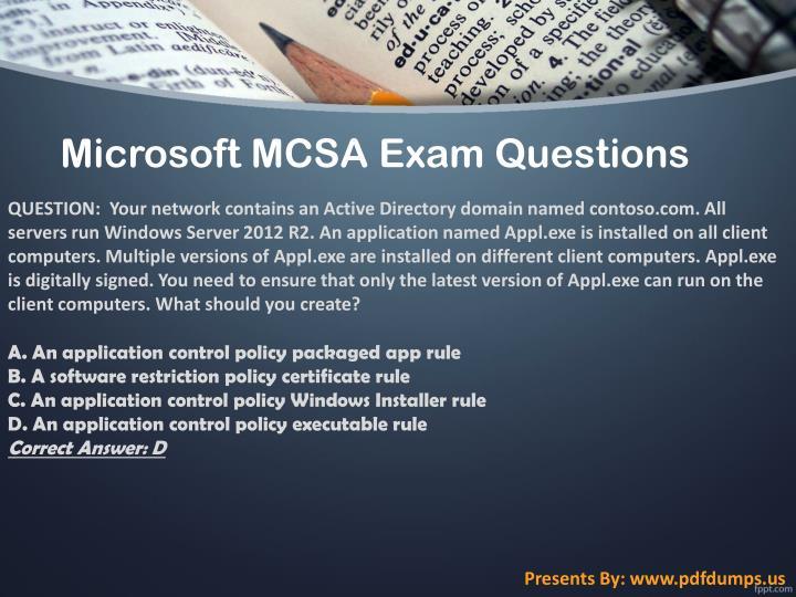 Microsoft MCSA Exam Questions