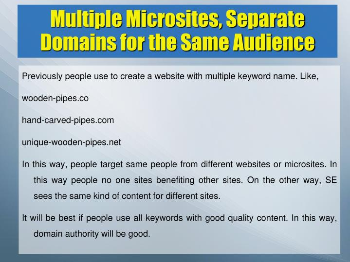 Multiple Microsites, Separate Domains for the Same Audience