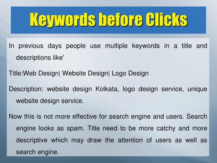 Keywords before clicks