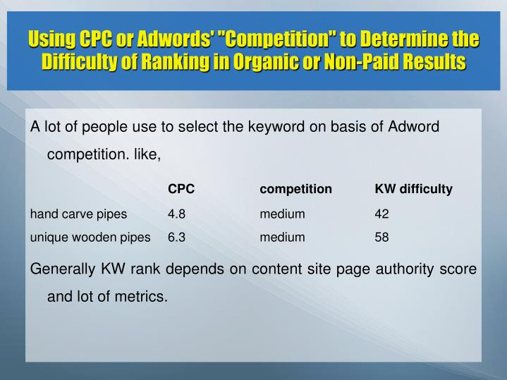 "Using CPC or Adwords' ""Competition"" to Determine the Difficulty of Ranking in Organic or Non-Paid Results"
