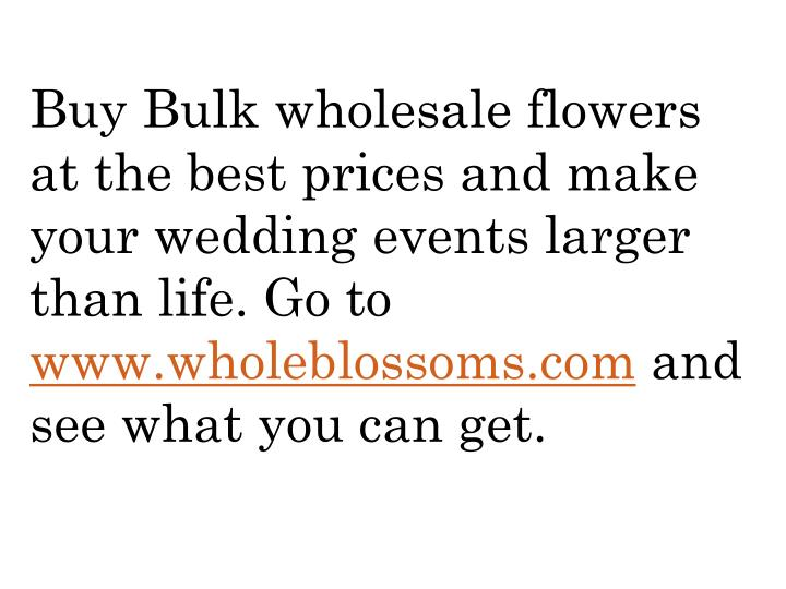 Buy Bulk wholesale flowers at the best prices and make your wedding events larger than life. Go to