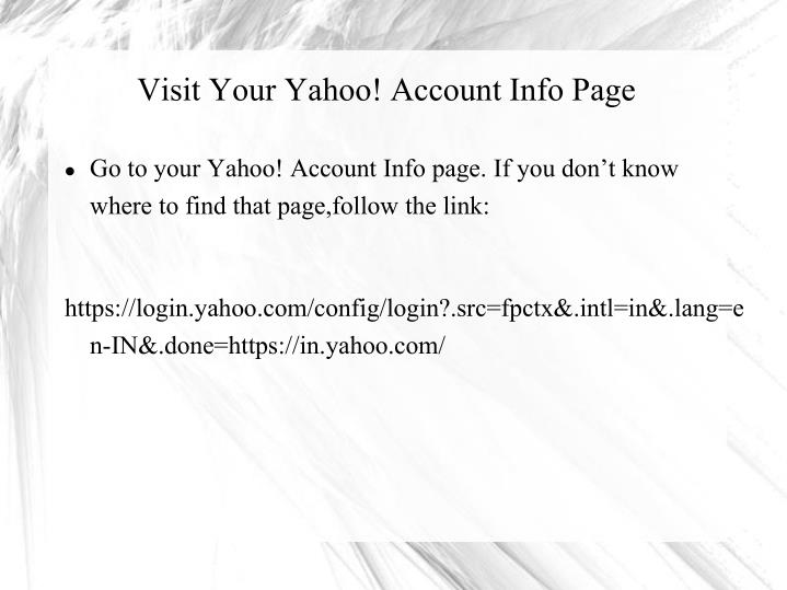 Visit Your Yahoo! Account Info Page