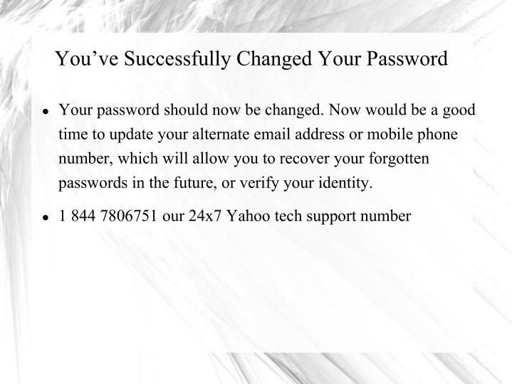 You've Successfully Changed Your Password