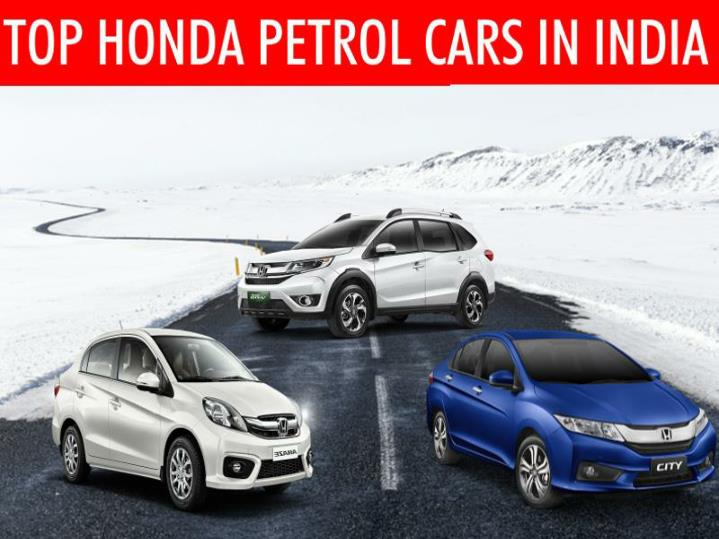 Find the top 3 honda petrol cars in india