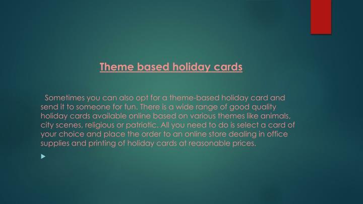 Theme based holiday cards