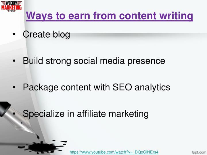 Ways to earn from content writing