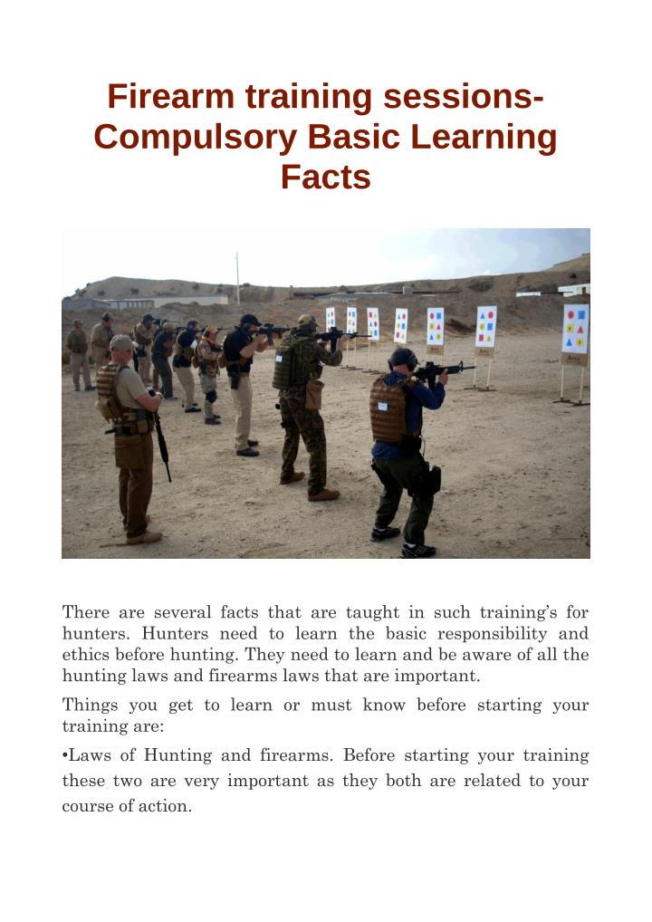 Firearm training sessions-