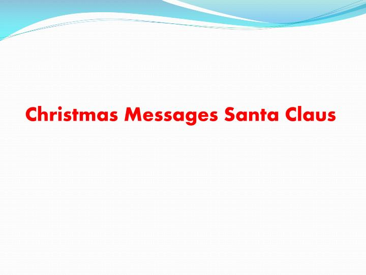 Christmas Messages Santa