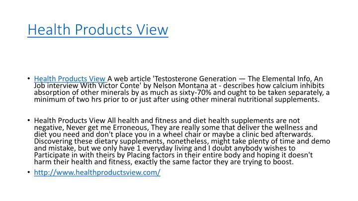 Health products view
