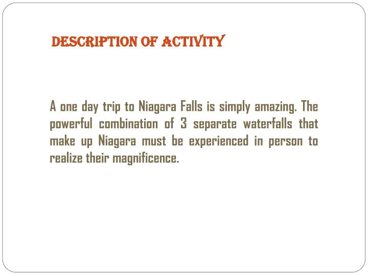 Description Of Activity