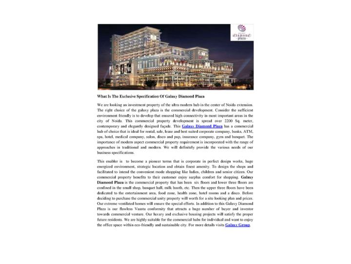 What is the exclusive specification of galaxy diamond plaza