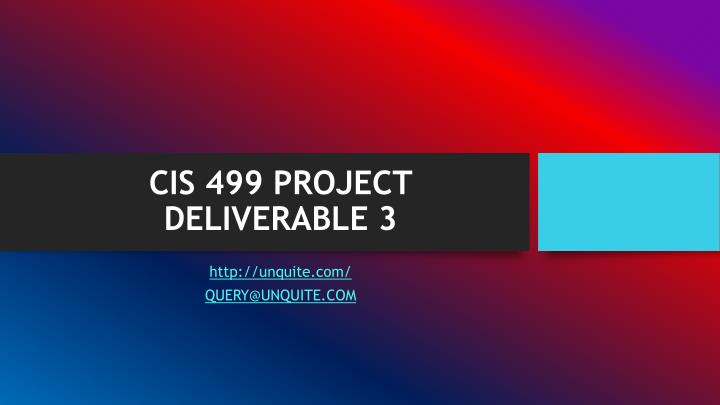 Cis 499 project deliverable 3