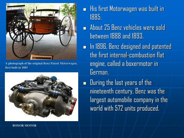 A photograph of the original Benz Patent Motorwagen,