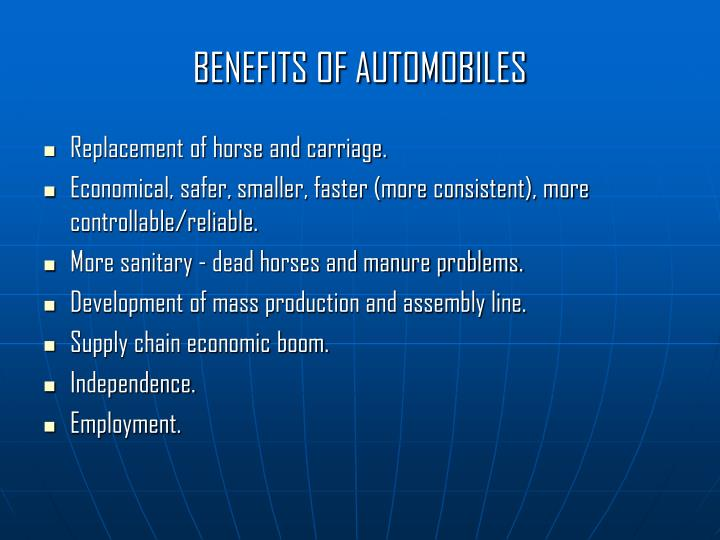 BENEFITS OF AUTOMOBILES