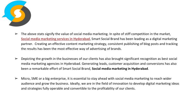 The above stats signify the value of social media marketing. In spite of stiff competition in the market,