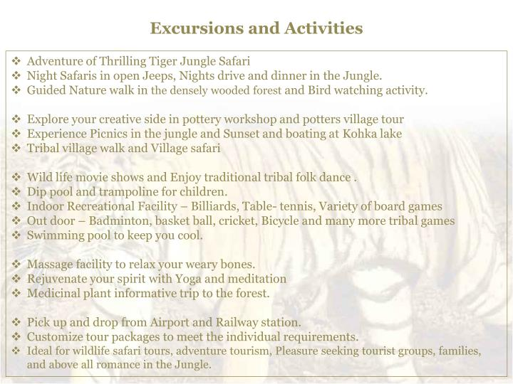 Excursions and Activities