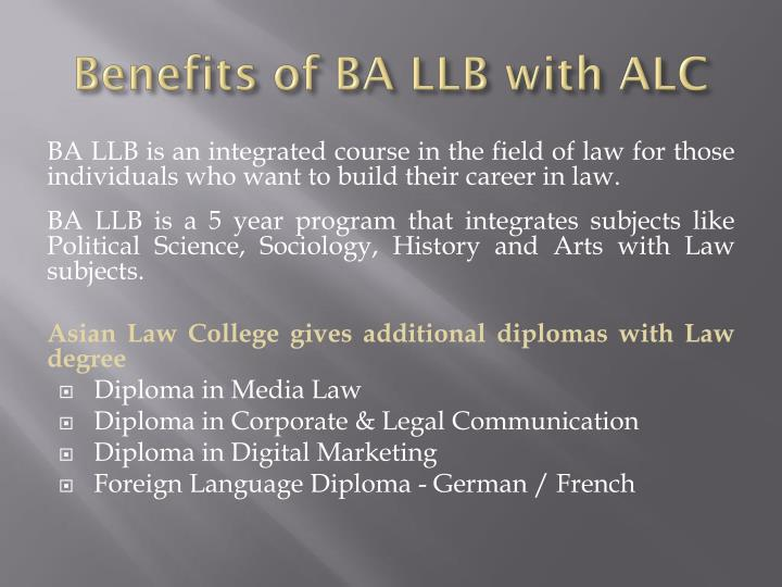 Benefits of BA LLB with ALC