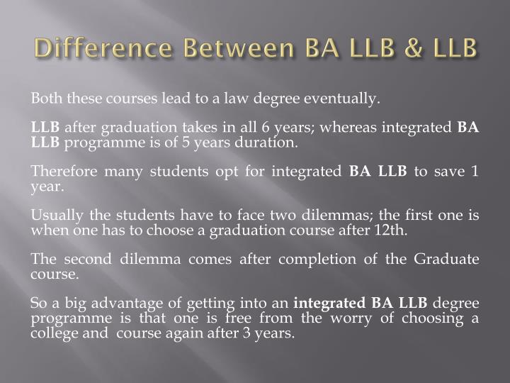 Difference Between BA LLB & LLB