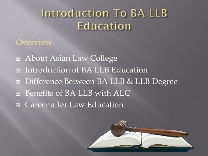 Introduction To BA LLB Education