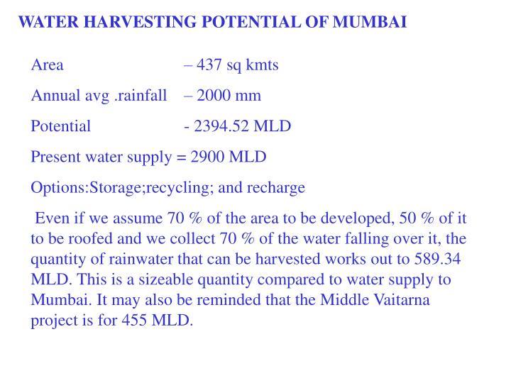 WATER HARVESTING POTENTIAL OF MUMBAI